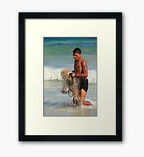 Fisherman with Catch in Tulum Framed Print