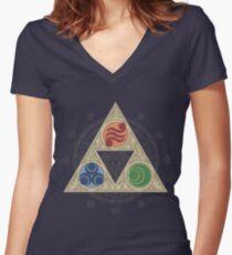 """""""Grace of the Goddesses"""" Women's Fitted V-Neck T-Shirt"""