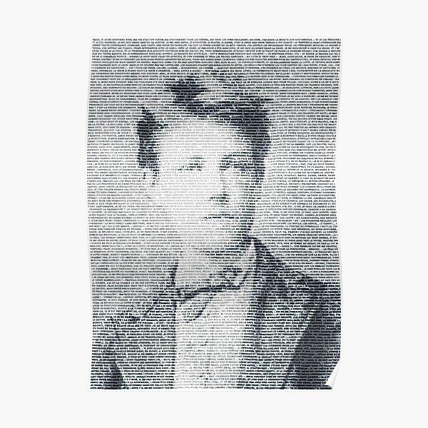 Arthur Rimbaud, le plus grand poète français dessiné par le texte de la Saison en enfer Poster