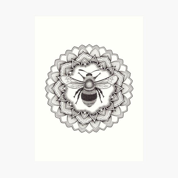 Bumblebee mandala in dotwork pen and ink Art Print