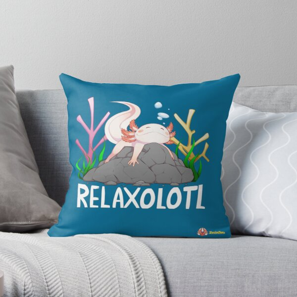 Relaxolotl a cute relaxing axolotl on a rock Throw Pillow