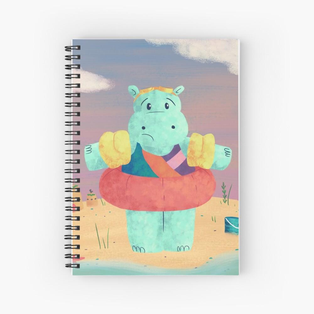 Nervous Beachy Hippo Spiral Notebook