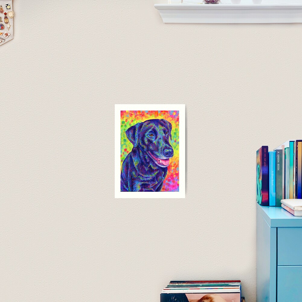 Happy Go Lucky - Rainbow Black Labrador Retriever Art Print
