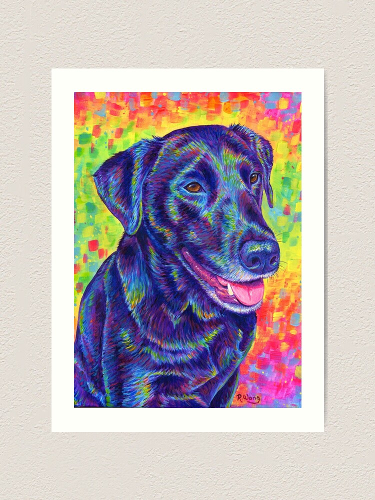 Alternate view of Happy Go Lucky - Rainbow Black Labrador Retriever Art Print