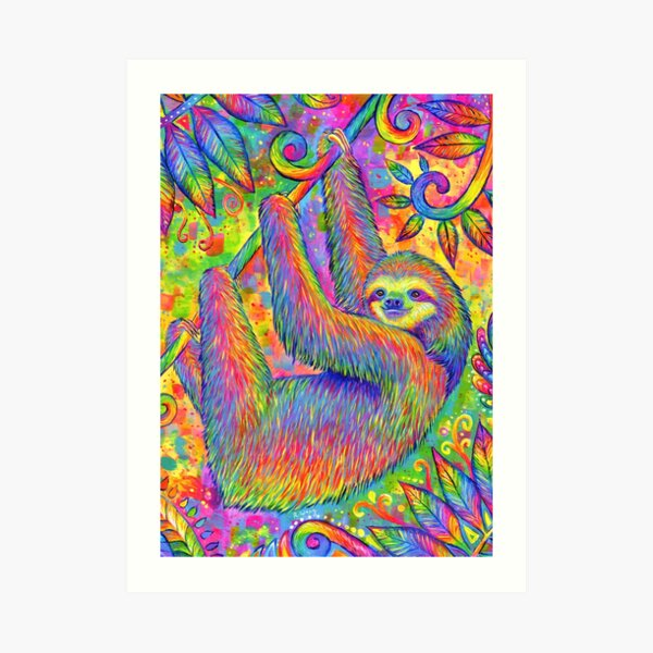 Hanging Around - Psychedelic Sloth Art Print