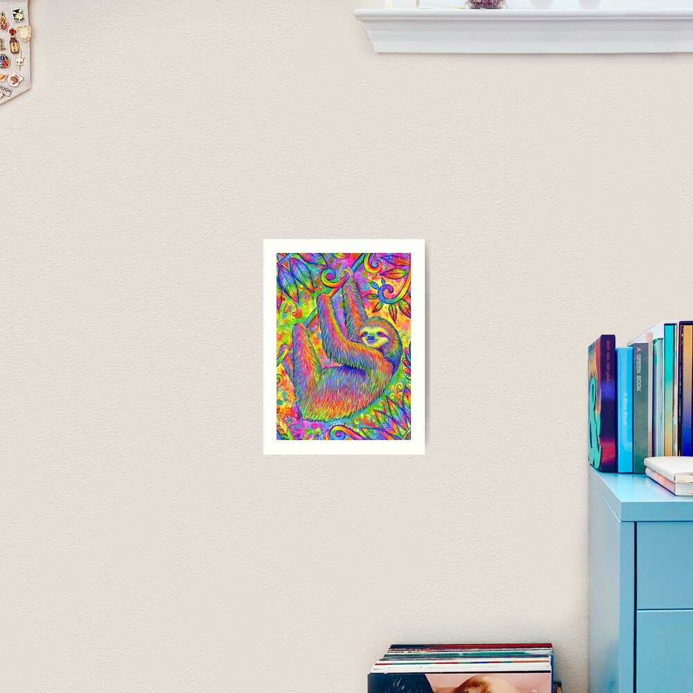 Hanging Around - Psychedelic Sloth Art Print