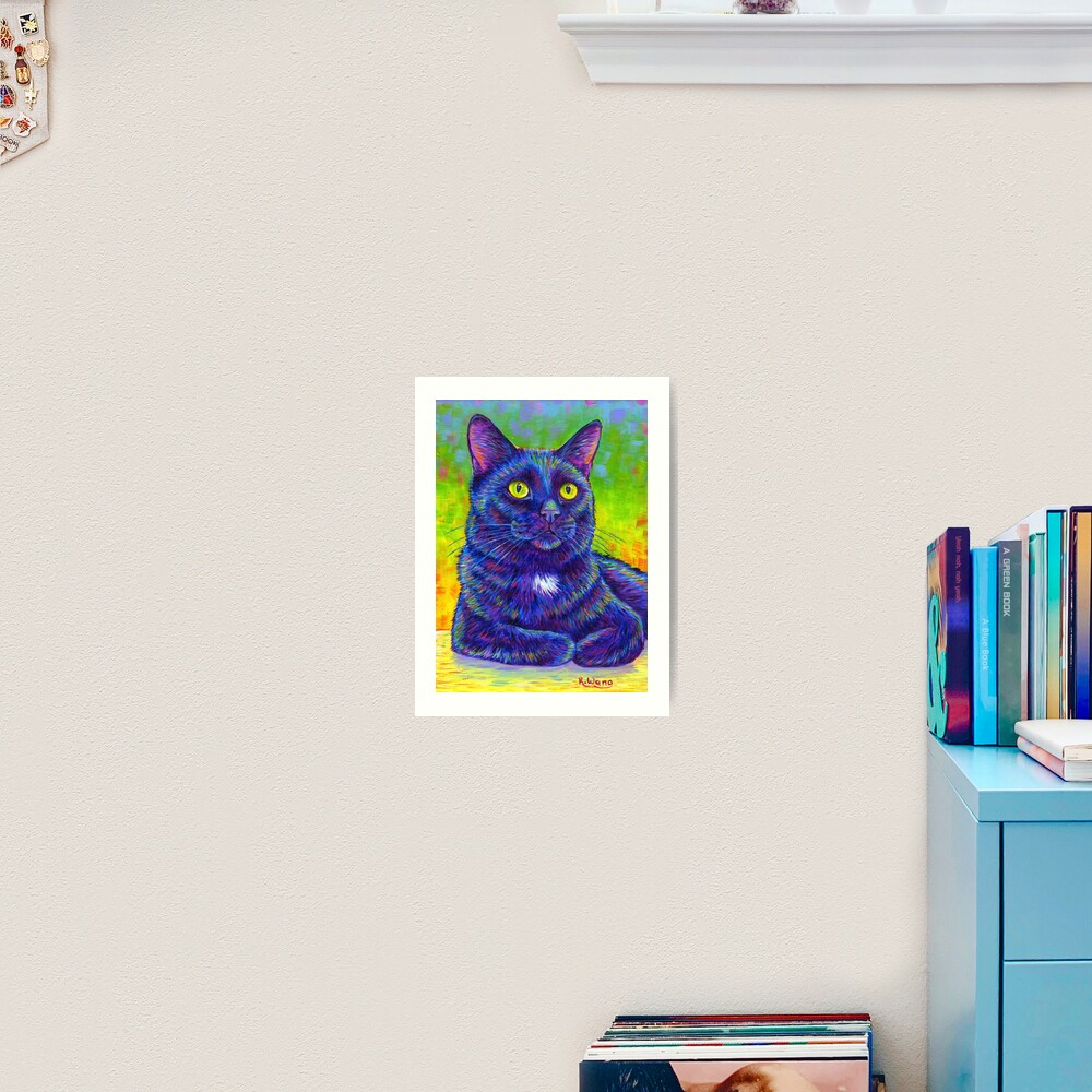 Little House Panther - Colorful Black Cat Art Print