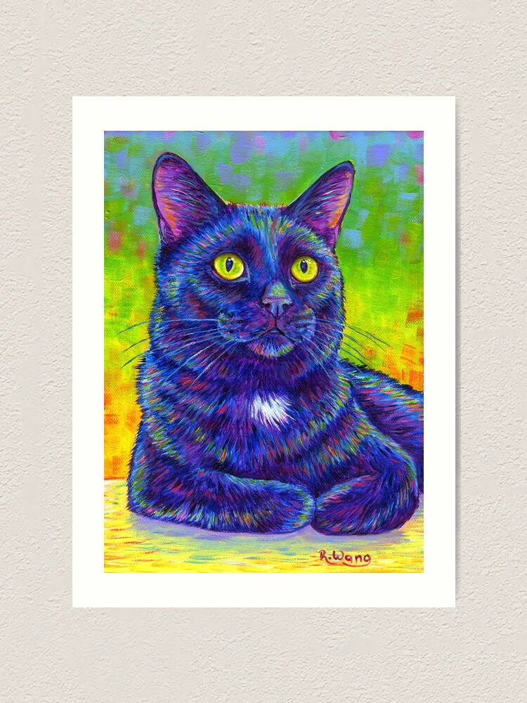 Alternate view of Little House Panther - Colorful Black Cat Art Print