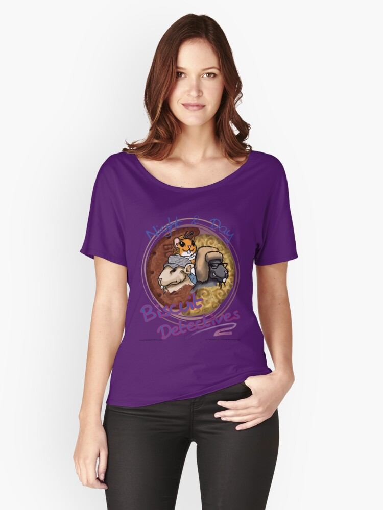 Night & Day, Biscuit Detectives! Women's Relaxed Fit T-Shirt Front