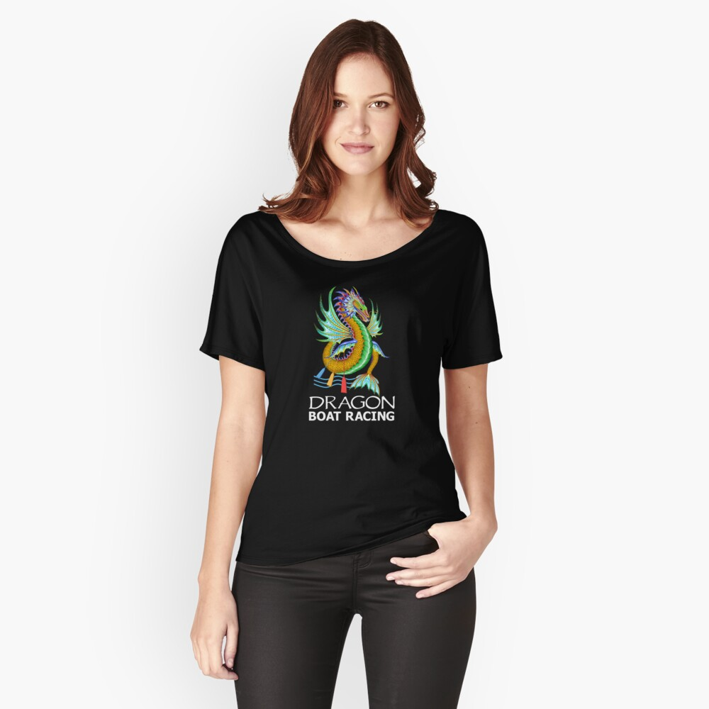 Gold and Green Water Dragon Boat Racing T-Shirt Relaxed Fit T-Shirt