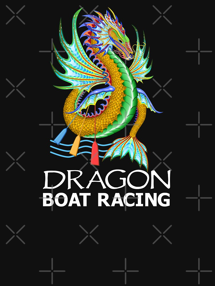 Gold and Green Water Dragon Boat Racing T-Shirt by 99stars