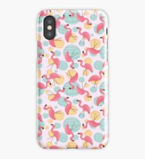 Summer Flamingos and Party Lights iPhone Case/Skin