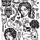pen and ink blackwork flash sheet by resonanteye