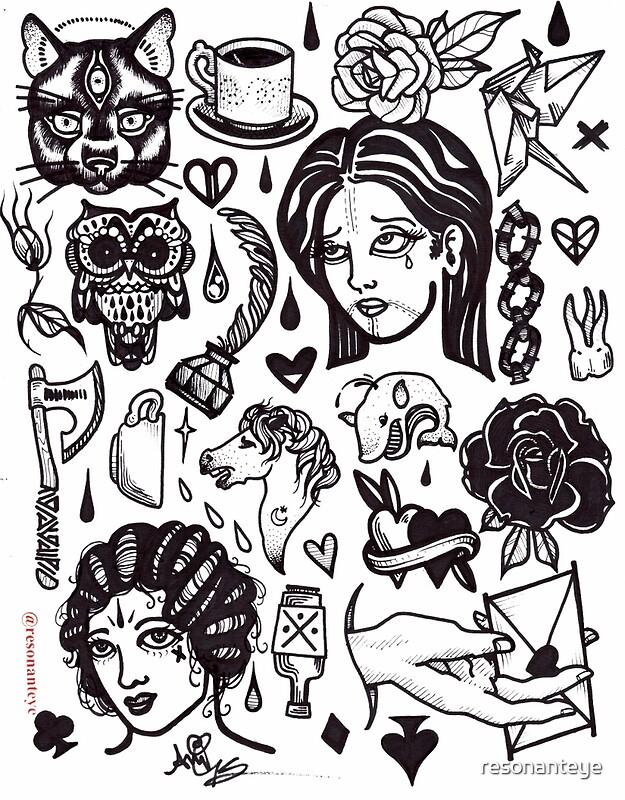 "Tattoo Flash Art Black And White Guitar: ""pen And Ink Blackwork Flash Sheet"" By Resonanteye"
