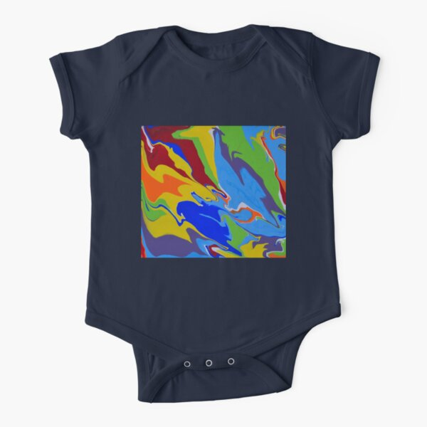 Repurposed Rainbow Pour Short Sleeve Baby One-Piece