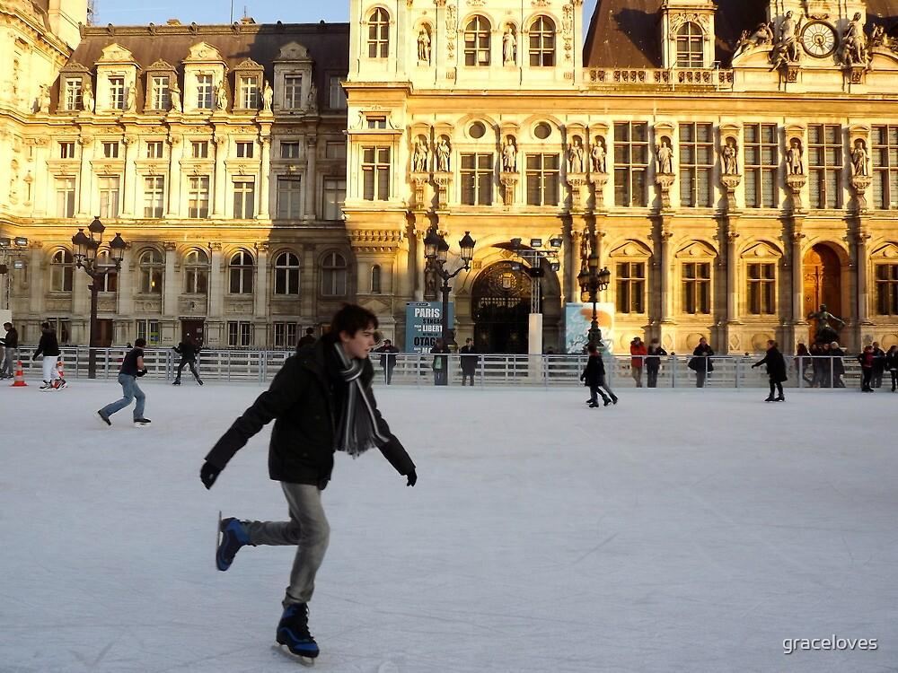 Ice skating at Hotel de Ville, Paris by graceloves