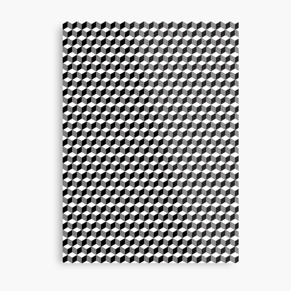 iLLusions, Monochrome, 3d cubes, Pattern Metal Print