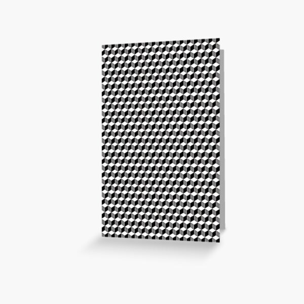 iLLusions, Monochrome, 3d cubes, Pattern Greeting Card