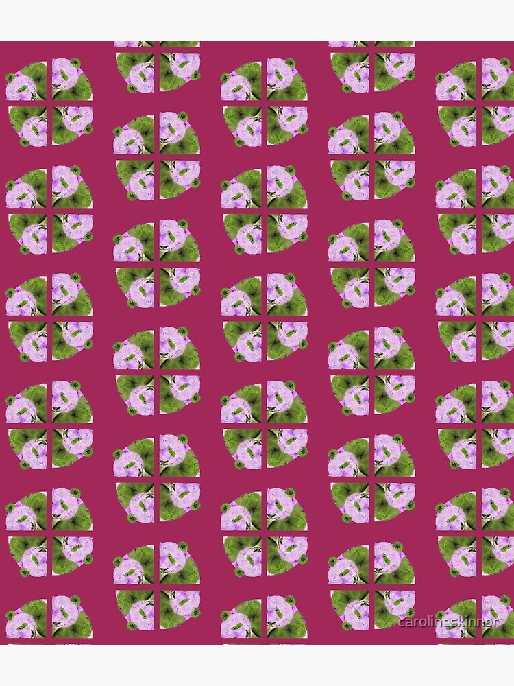 Panda pattern in purple and green by carolineskinner