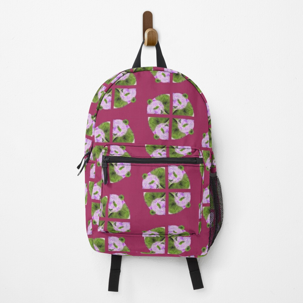 Panda pattern in purple and green Backpack
