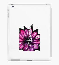 """# Beautiful"" with Purple Hand Painted Flowers iPad Case/Skin"