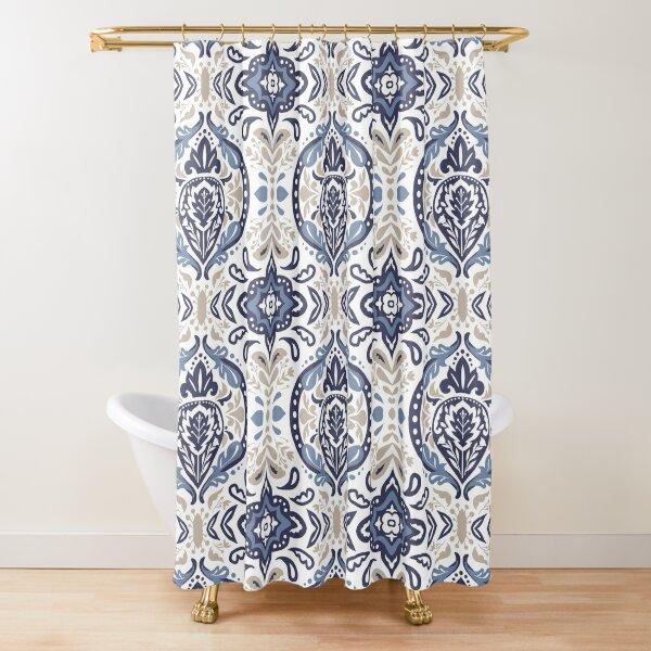 Beatrice Damask Blue Lagoon Shower Curtain