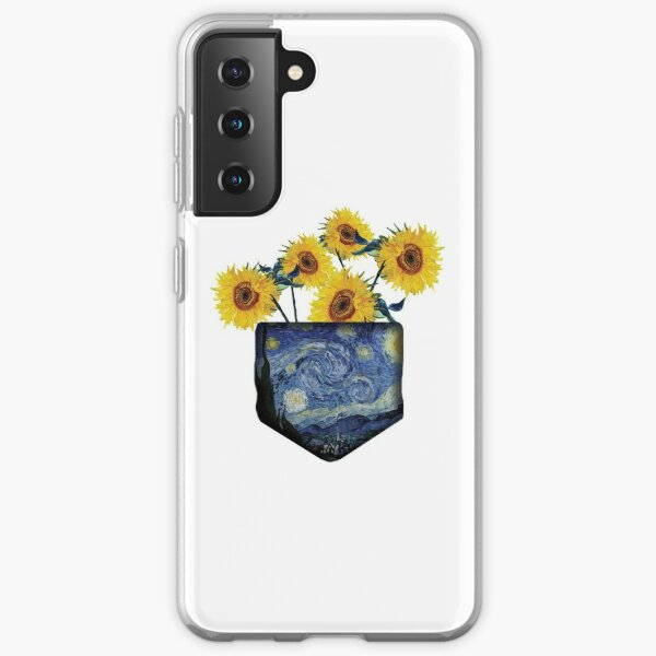 Cute Samsung Case happy and positive vibes. sunflower pink design