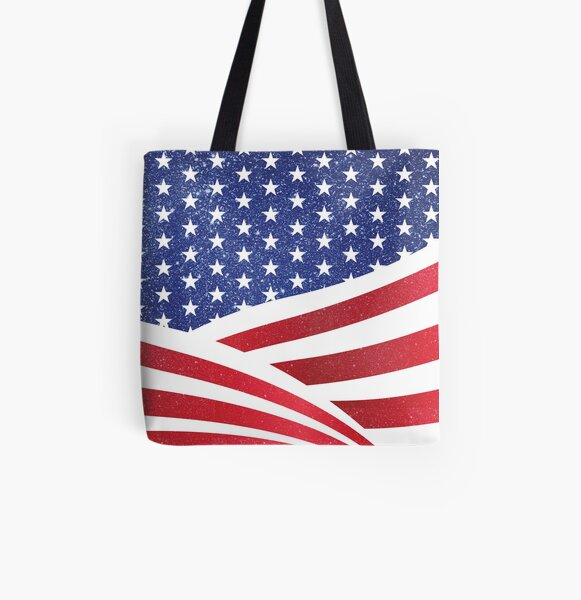 Glitter n Sparkle American Flag Fourth of July Independence Day Pattern Print All Over Print Tote Bag