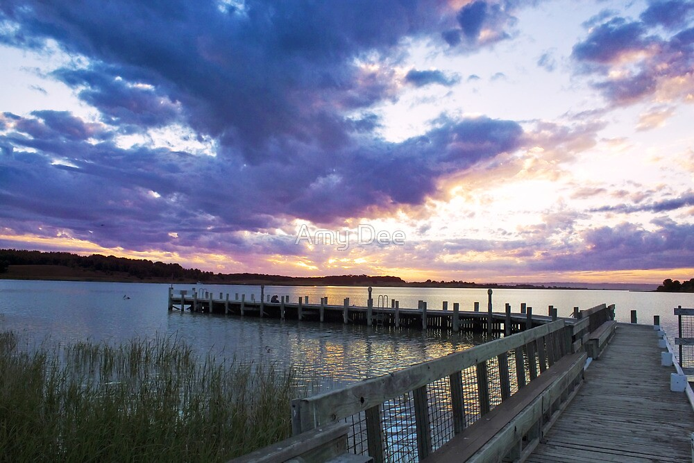 Sunset Over The Jetty by Amy Dee