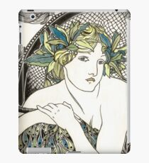 """Appropriation of Alphonse Mucha's """"Woman with Poppies"""" 1898 Crossed sepia and colour iPad Case/Skin"""