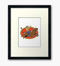 Rodeo Cowboy Bull Riding Retro Framed Print