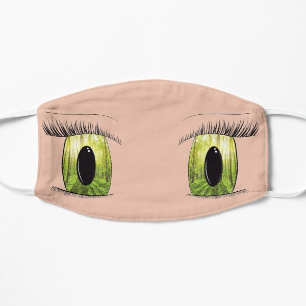 Green Anime Eyes Flat Mask