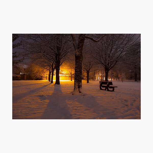Gildredge park snow light Photographic Print