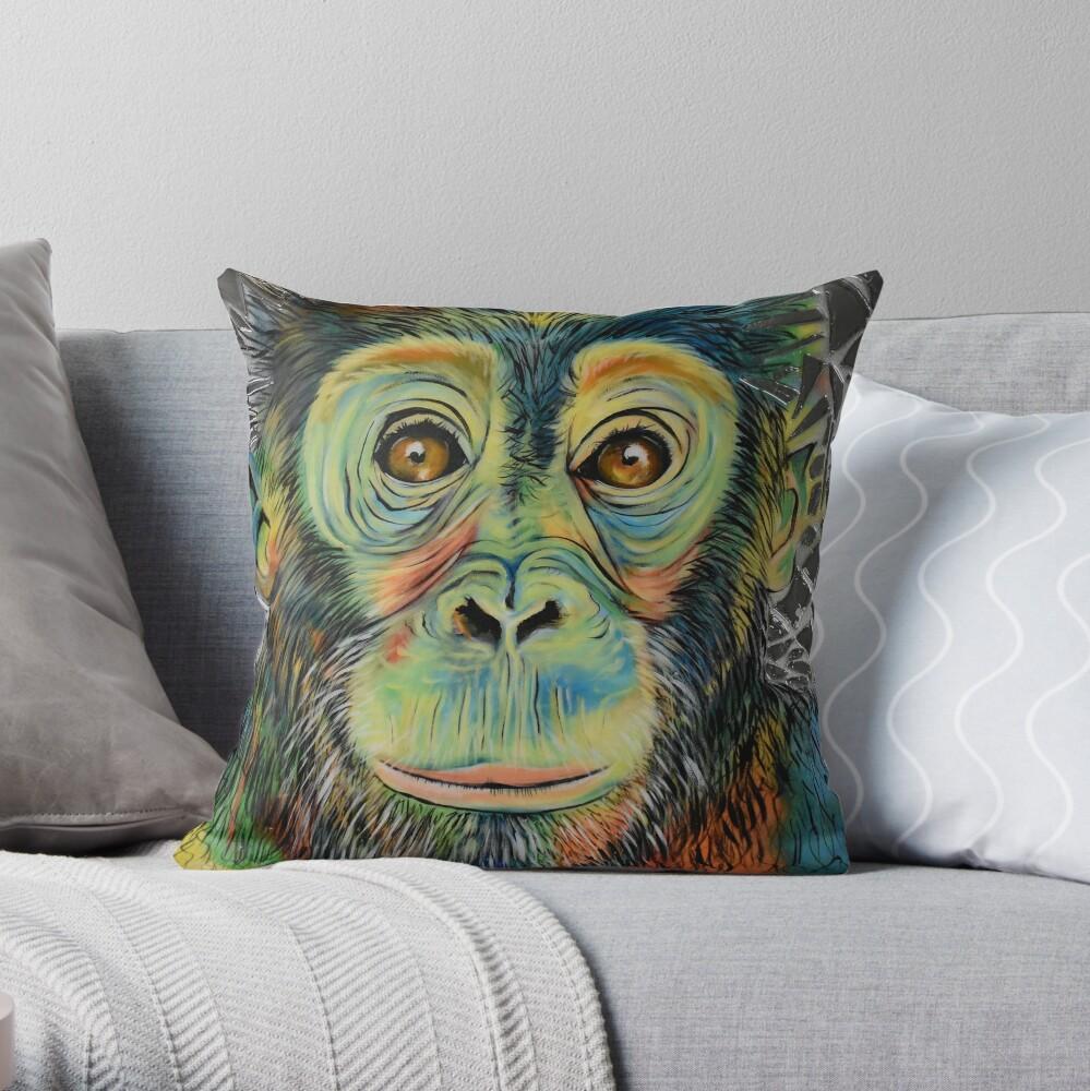 Monkey See Monkey Do Throw Pillow