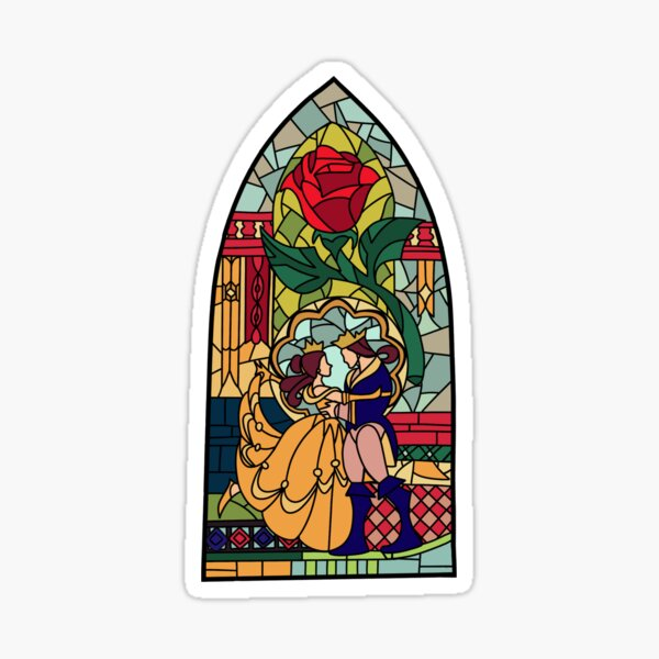 Beauty and the Beast Glass Sticker