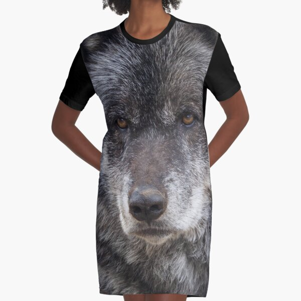 Black Wolf With Brown Eyes Graphic T-Shirt Dress
