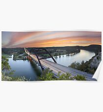 Pennybacker Bridge Panorama, Austin, Texas 3 Poster