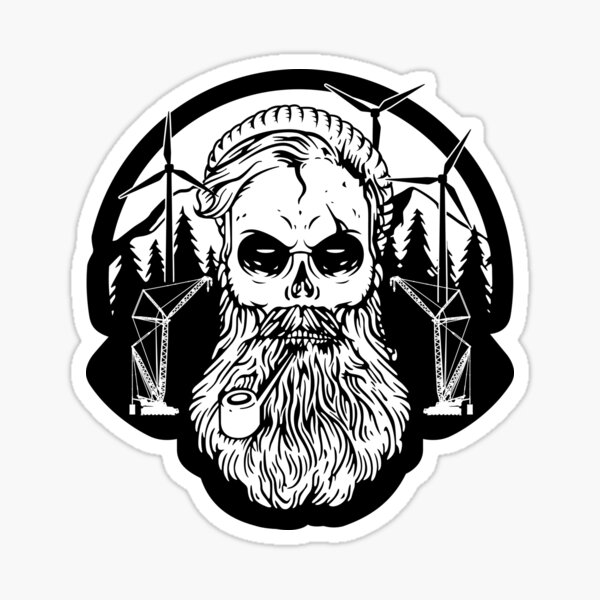 Wind Turbine Skull and Cranes Sticker