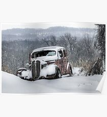 Antique Snowmobile Poster