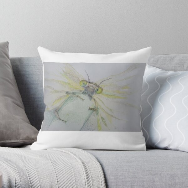 Dragonfly - Hanging in there Throw Pillow