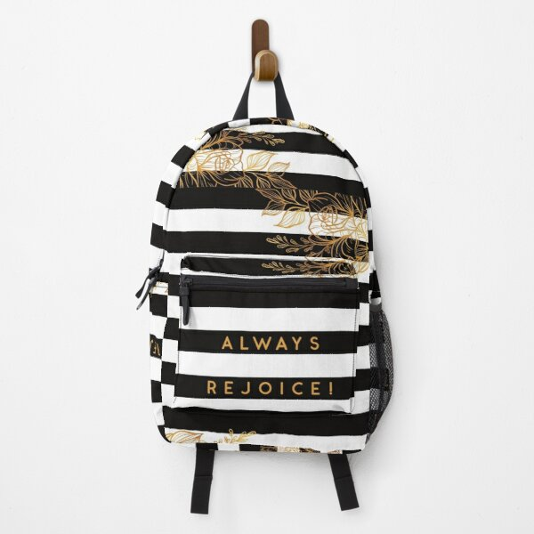 Always Rejoice - Black, White and Gold Backpack