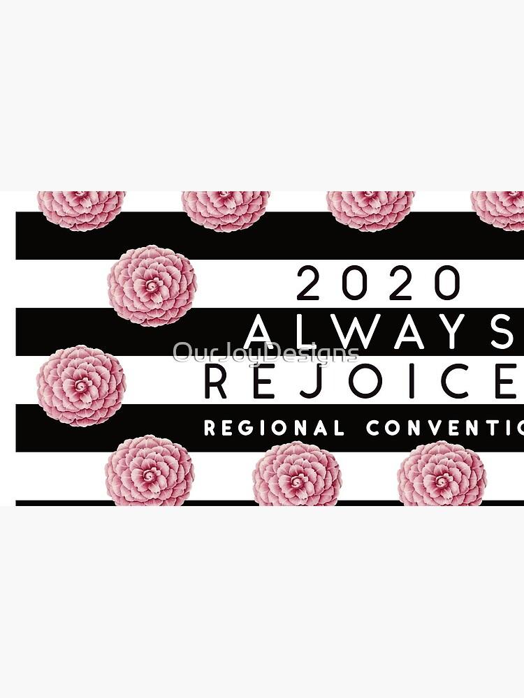 Always Rejoice - Black Stripes and Pink Flowers by OurJoyDesigns