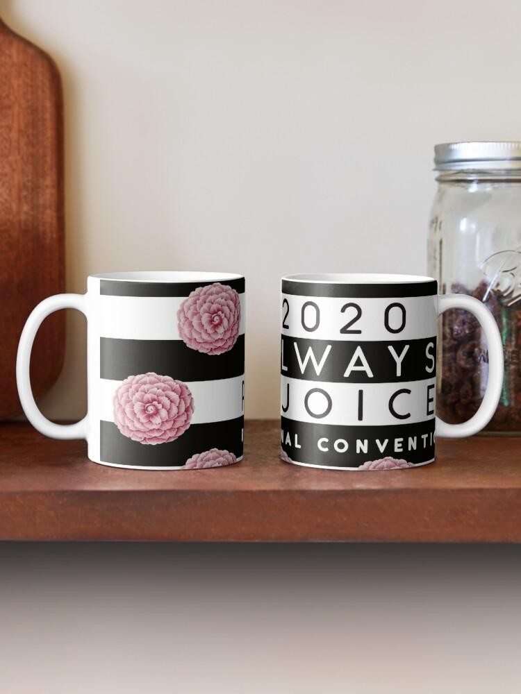 Alternate view of Always Rejoice - Black Stripes and Pink Flowers Mug