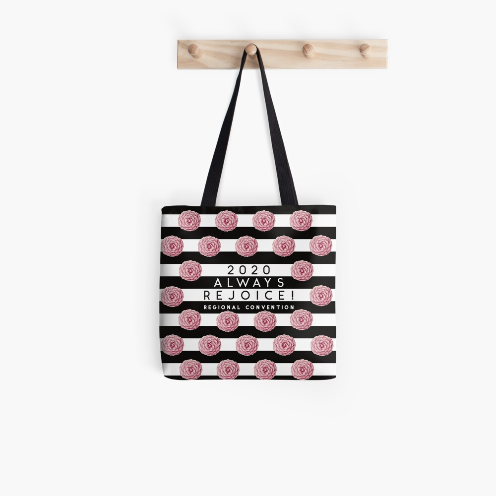 Always Rejoice - Black Stripes and Pink Flowers Tote Bag