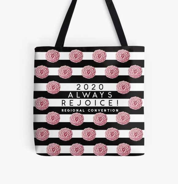 Always Rejoice - Black Stripes and Pink Flowers All Over Print Tote Bag
