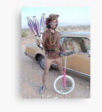 Juggler & Unicycle Clown Metal Print