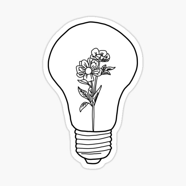 Flower In A Light Bulb Sticker By Martajewel Redbubble