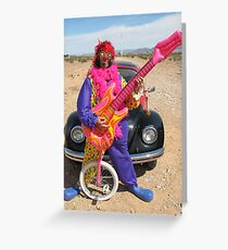 Clown, Unicycle & Guitar Greeting Card