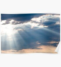 Sun shining thru clouds Poster