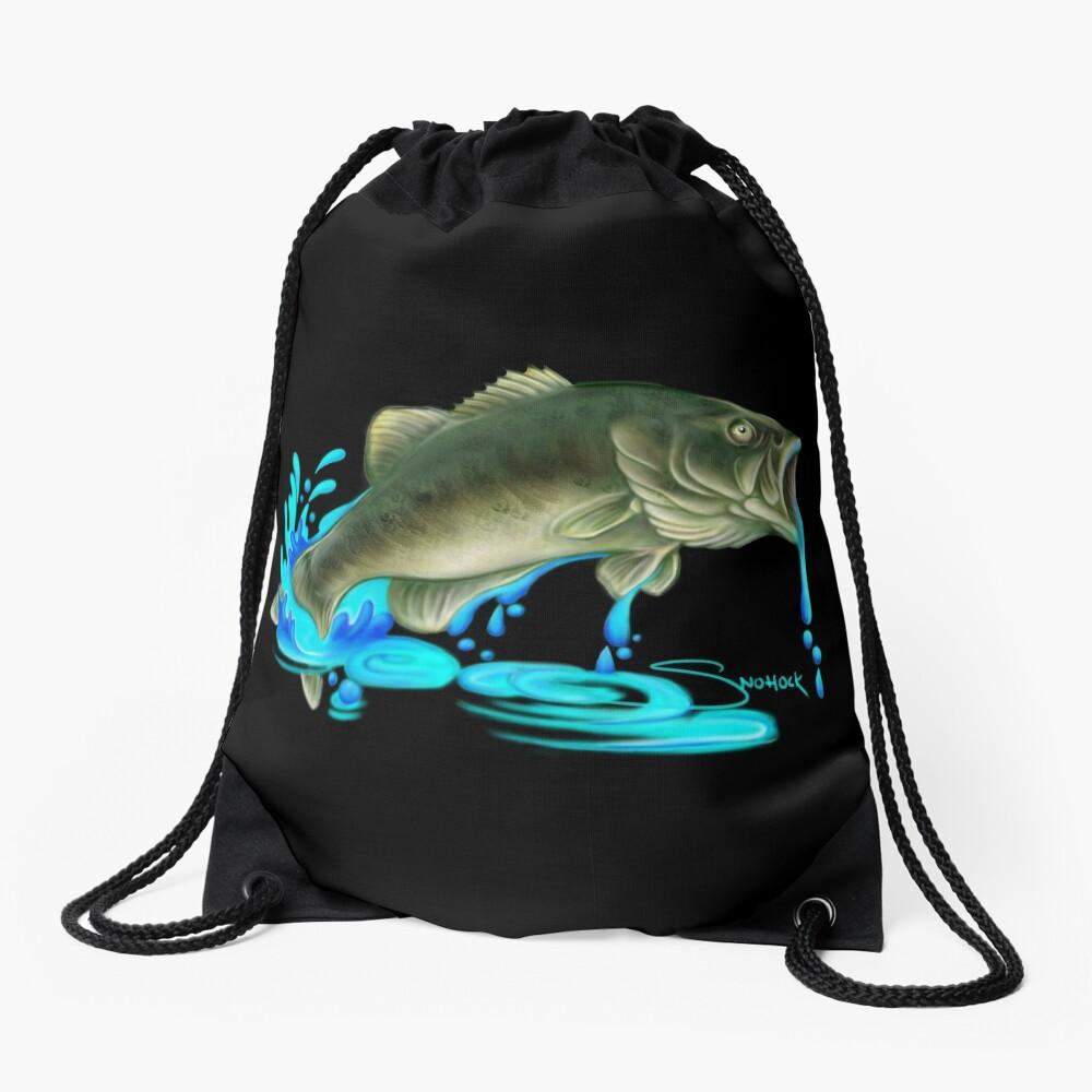 Jumping Bass Fish with Dripping Water Drawstring Bag